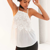 Kimchi Blue Emery Lace Overlay High-Neck Cami - Urban Outfitters