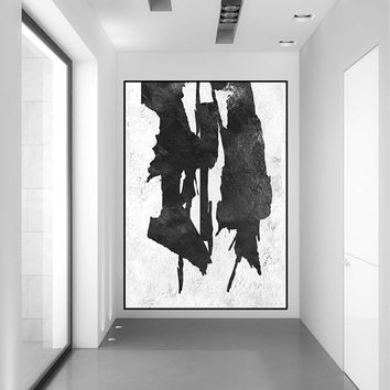 modern large abstract painting on canvas, original acrylic painting, mid century black and white, large abstract art, Contemporary Painting
