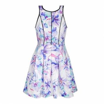 PURPLE LILY PRINT SKATER DRESS - Ally Fashion