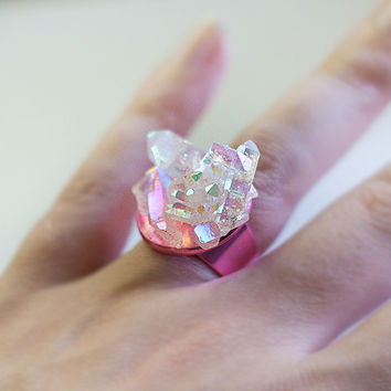 Angel Aura Quartz on Titanium Pink Ring