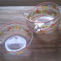 Hand painted Vintage Set of Four Glass Dessert Dishes