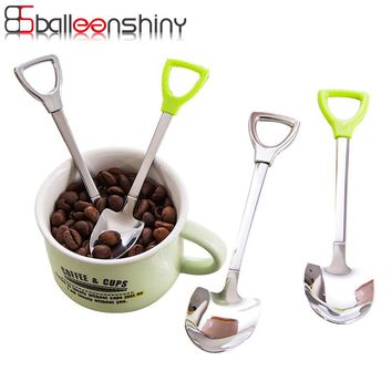 BalleShiny Stainless Steel Shovel Spoon Salad Dessert Food Eating Spoon Child Kids Dinnerware Gift Kitchen Tools Tableware Bar