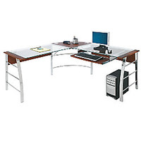 Realspace Mezza L Shaped Glass Computer Desk 30 H x 61 12 W x 61 12 D CherryChrome by Office Depot