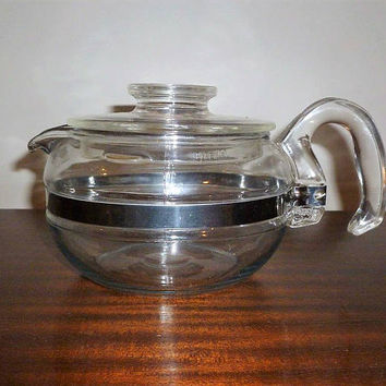 Vintage 1960s  Pyrex Glass Flameware 6 Cup Teapot / Retro Stovetop Teapot / Glass and Stainless Steel
