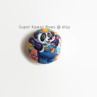 "1"" Lisa Frank Panda Painter Button Pin"