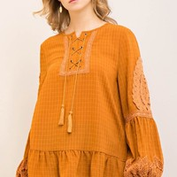 Plisse Peasant Top with Lace-Up Front