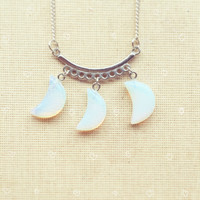 Moonstone Necklace- Crescent Moon Necklace, Moon Necklace, Gemstone Necklace, Opalite Necklace, Layer Necklace, Point Necklace FREE SHIPPING