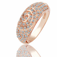 Swirl Pave Diamond 18K Rose Gold Plated Ring