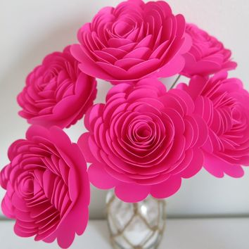 "Fuchsia Paper Roses Set of 6, Large 3"" Stemmed Flowers, Hot Pink Girl Birthday Party Centerpiece Floral Idea, Valentine"