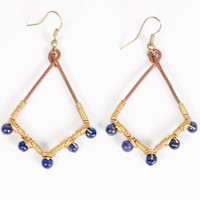 Wire Dot Blue Diamond Earrings