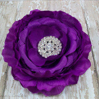 Bridesmaid Hair Accessory, Purple Flower Hair Clip with Rhinestone Center, Hair Flower, Bridal Hair, Women