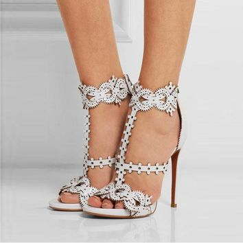 Gear Simple Style Open Toe Straps Stiletto High Heel Sandals