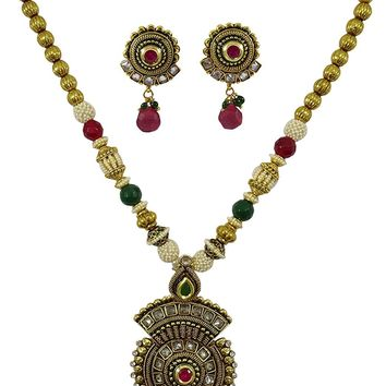 Matra Ethnic Indian Traditional Gold Tone Kundan Pendent Necklace Set Women Jewelry