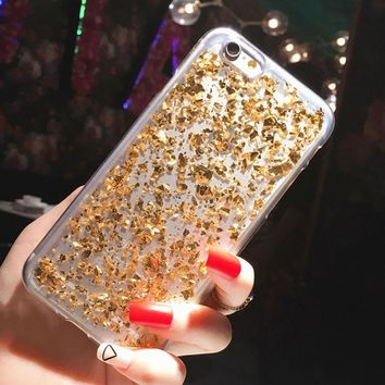 Gold Foil Transparent Gel TPU Case For iPhone 7 8 6 6S X Plus 5S 5 S SE Case Glitter Thin Clear Silicon Cover Pink with Sparkles