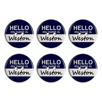 Weston Hello My Name Is Plastic Resin Button Set of 6