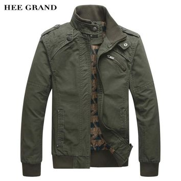 HEE GRAND 2017 New Arrival Men's Fashion Casual Spring Autumn Jacket Cotton Stand Collar Coat 4 Colors MWJ166