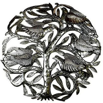 Handmade 24 inch Tree of Life with 3-D Birds Metal Art Wall Hanging Haiti