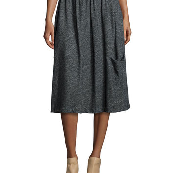 Bias Twist Oval Skirt, Charcoal, Size:
