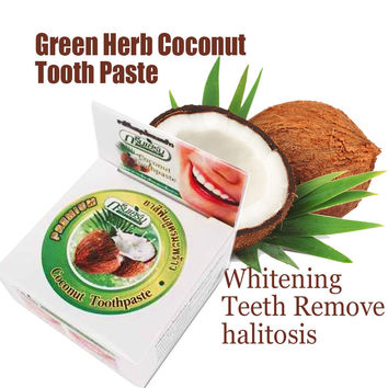 Popular Toothpaste Whitening Teeth Remove halitosis 10g Green Herb Coconut Tooth Paste Dentifrice Dental Products M243C