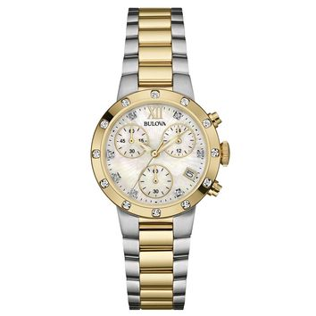 Bulova 98R209 Women's Maiden Lane MOP Dial Two Tone Steel Chronograph Diamond Watch