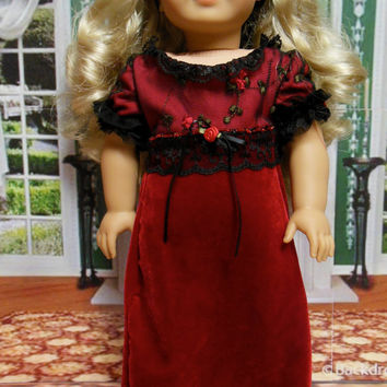 Velvet Roses Regency Dress with headband(18 inch) early 1800's OOAK for American Girl doll