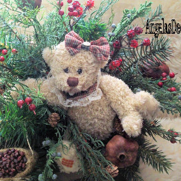 Country Bear Arrangement, Winter Season Mix, Faux Evergreens, Fake Raspberries, Round Centerpiece, Whimsy Holiday, Natural Dry Pomegranates