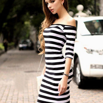 Stripe Off Shoulder Midi Bodycon Dress