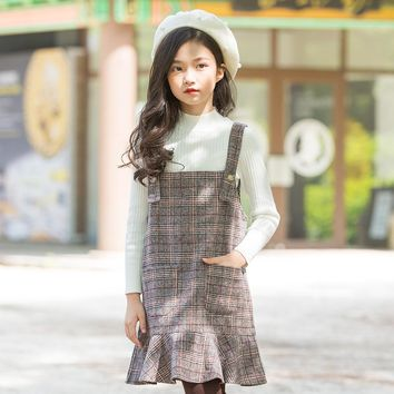 Classic Plaid Jumper Overalls Dress