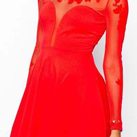 Red Floral Mesh Long Sleeve Dress