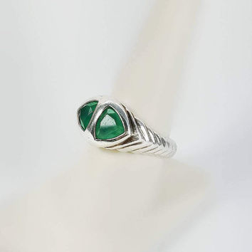 Green Stone Ring - Thick Sterling Silver Ring Size 9 - Two Stone Ring - Large Chunky Ring - Ribbed Sterling Ring - Triangle Stone Ring