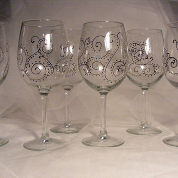 set of six painted wine glasses with scroll paisley print - perfect for bridesmaids, can be personalized