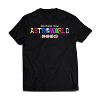 AstroWorld Houston, TX Black tee ! Travis Scott LA Flame Astro world Mens