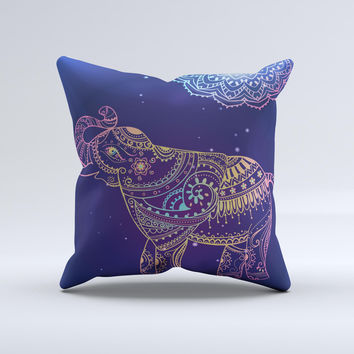 The Colorful Sacred Elephant ink-Fuzed Decorative Throw Pillow