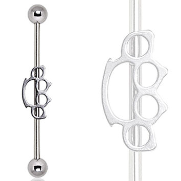 316L Surgical Steel Brass Knuckle Industrial Barbell