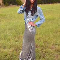 Holiday Party Sequin Maxi Skirt- Silver