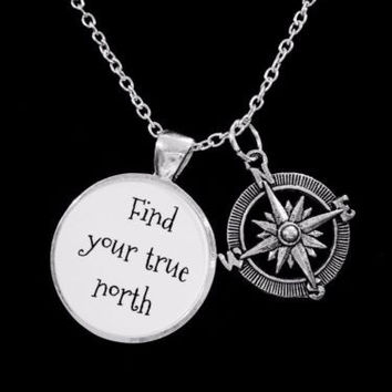 Compass Find Your True North Direction Nautical Gift Necklace
