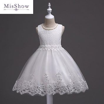 MisShow Real Photos Cheap Pretty Princess O Neck Beaded Appliques Flower Girl Dresses For Weddings 2017 Lace Communion Dresses