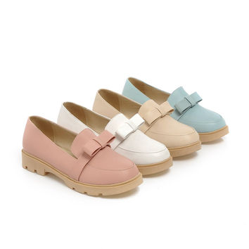 Cute Bow Low Heels Women Shoes 6419