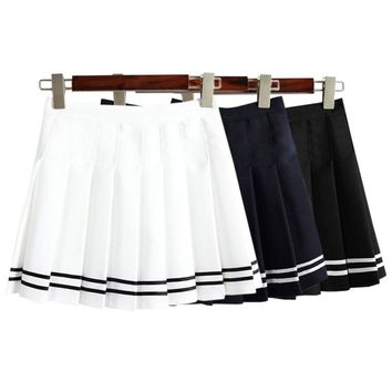 Women'S Kawaii Vintage AA High Waist Pleated Skirt Female Japanese Harajuku British Preppy Style Cute Skirts For Women