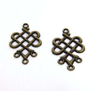 brass jewelry link, 4 loop connector antiqued finish, celtic weave, 2 pieces (534D)
