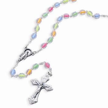 Children\'s Neon Color Bead Rosary Necklace