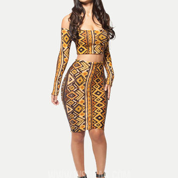 Yellow Printed Long Sleeve Strapless Bodycon Cropped Top Midi Skirt Set