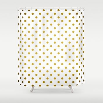 Gradient Gold Polka Dots Pattern on White Shower Curtain by stdjura