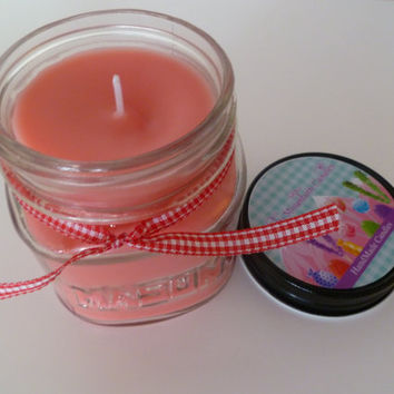 Strawberry Passion Soy Blend 8 oz. Mason Jar Candle Highly Scented Cotton Candy Red Candle