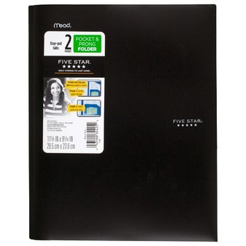 Five Star® Plastic Folder with Prongs 2 Pockets