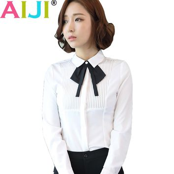 Autumn women blouse long sleeve OL elegant stripe bow tie turn-down collar formal chiffon shirts ladies white work wear tops