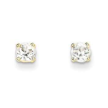 14k Yellow Gold 4mm Round April White Topaz Post Earrings
