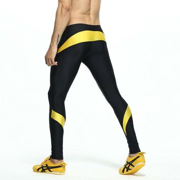 Men's Patchwork Compression Running Tights Elastic Athletics Running Track and Field Sport Tights Fitness Gym Sport Legging