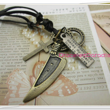 Charm jewelry necklace, cross necklace,men necklace, women necklace, made of bronze knife pendant and black leather necklace N-40.