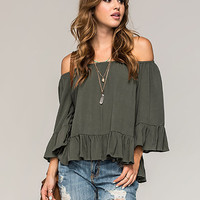 Full Tilt Off The Shoulder Ruffled Womens Top Olive  In Sizes
